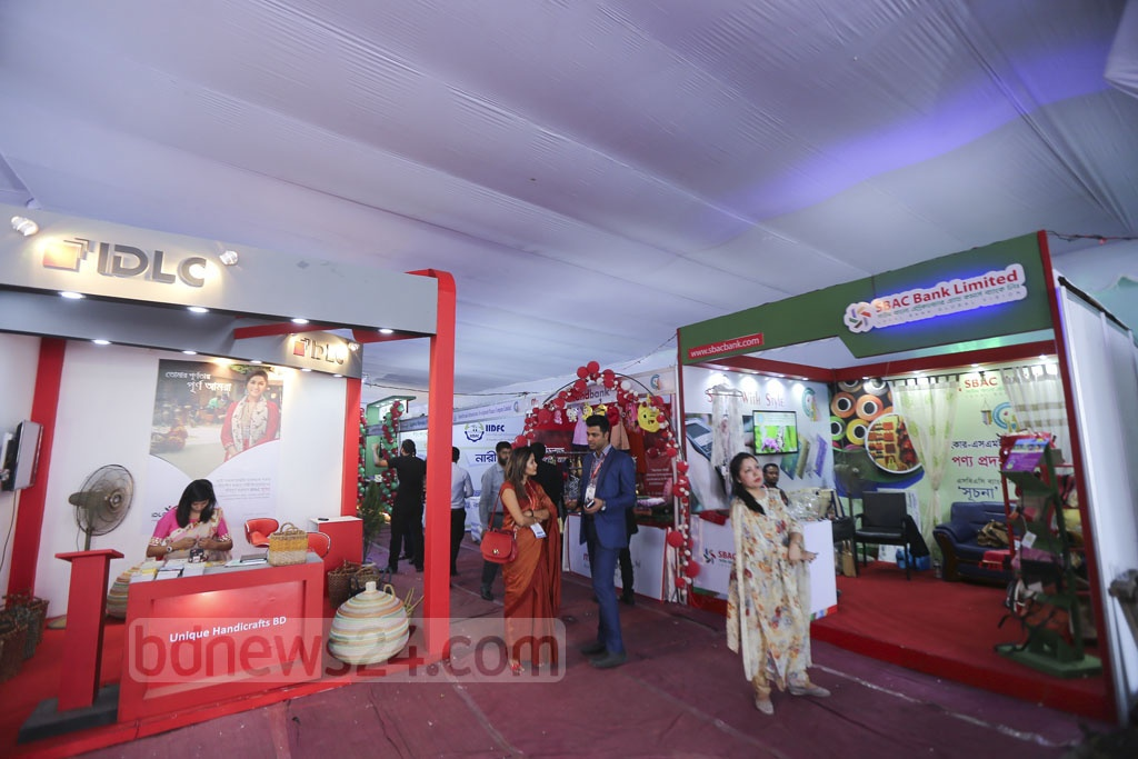 The three-day Banker-SME Women Entrepreneur Meet and Product Display 2018 on the Shishu Academy premises in Dhaka ends on Saturday. Photo: Mahmud Zaman Ovi