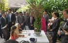 Prime Minister Sheikh Hasina at the National Orchid Garden of Singapore Botanic Gardens on Tuesday, when she unveiled a orchid named after her. Singapore has named the orchid as 'Dendrobium Sheikh Hasina' to make memorable her first visit to the country as the prime minister of Bangladesh. Photo: PMO