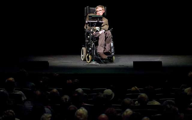 Professor of mathematics at Cambridge University Stephen W Hawking discusses theories on the origin of the universe in a talk in Berkeley, California, Mar 13, 2007. Reuters
