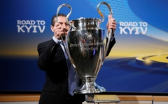 The Champions League trophy during the draw, Nyon, Switzerland, Mar16, 2018. Reuters