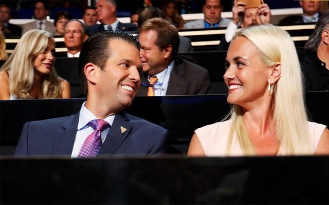 Donald Trump Jr and his wife Vanessa attend the second day session at the Republican National Convention in Cleveland, Ohio, US. Jul 19, 2016. Reuters