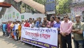 A journalist organisation protests police violence against DBC Barisal Cameraperson Sumon Hassan in front of Dhaka's National Press Club on Saturday. Photo: Mahmud Zaman Ovi