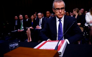 File Photo: Former Acting FBI Director Andrew McCabe arrives to testify before the U.S. Senate Select Committee on Intelligence on Capitol Hill in Washington, US May 11, 2017. Reuters