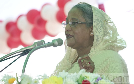 Prime Minister Sheikh Hasina addresses a children's rally organised by the Gopalganj district administration and the Women and Children's Affairs Ministry for Bangabandhu Sheikh Mujibur Rahman's birthday in Tungipara on Saturday.