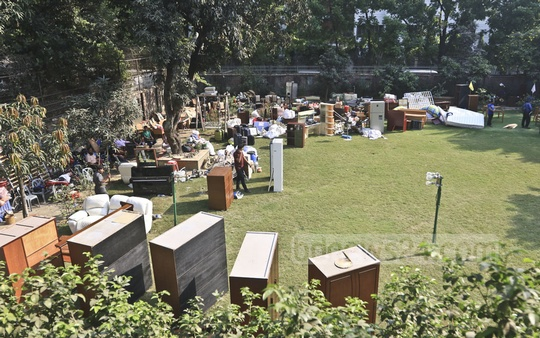 Furniture of the house of Ha-Meem Group Chairman AK Azad is seen on the lawn on Tuesday, when the capital development authority RAJUK demolished parts of the building as the former FBCCI president's home was built without following an approved plan. Photo: Abdullah Al Momin
