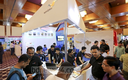 A general view of the travel and tourism fair at Dhaka's Sonargaon Hotel on Friday. The three-day exposition ends on Saturday. Photo: Mahmud Zaman Ovi