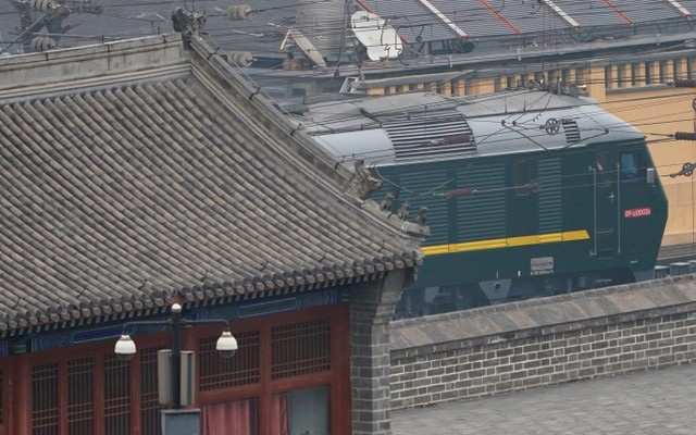 A train believed to be carrying a senior North Korean delegation leaves China's captial in Beijing, China March 27, 2018. Reuters