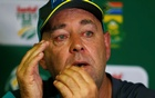 Australian cricket coach Darren Lehmann reacts as he briefs media at the Wanderes stadium in Johannesburg, South Africa March 29, 2018. Reuters