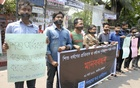 A child welfare organisation holds a demonstration in front of the National Press Club in Dhaka to protest child abuse and demand proper punishment to rapists.