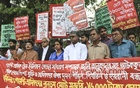Garment Sramik Odhikar Andolan, a platform for garment workers, demonstrates outside the National Press Club in Dhaka on Thursday demanding release of Joly Talukder, general secretary at Garment Workers' Trade Union Centre. Photo: Abdullah Al Momin