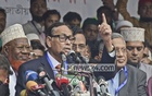 Jatiya Party Chairman HM Ershad addresses a rally organised by Sammilita Jatiya Jote at the Laldighi ground in Chattogram on Saturday. Photo: suman babu