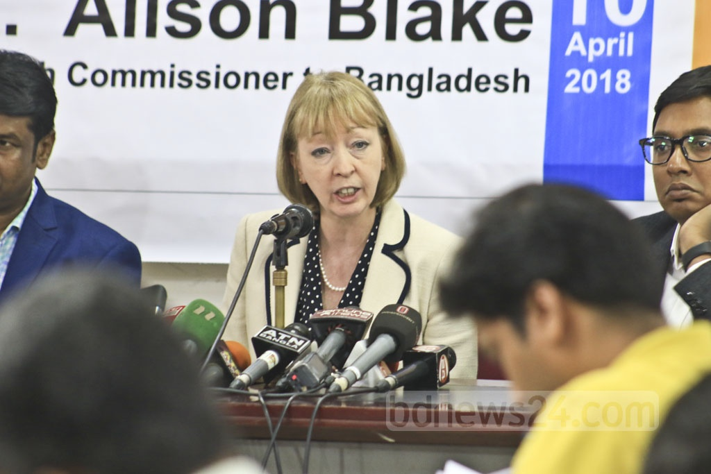British High Commissioner in Dhaka Alison Blake addresses the Diplomatic Correspondents Association, Bangladesh's (DCAB) flagship event 'DCABtalk' at the National Press Club on Tuesday. Photo: Abdullah Al Momin