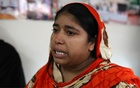 Rubina, a Rana Plaza victim cries when telling her story in Savar near Dhaka, Bangladesh, Mar 2, 2018. Reuters