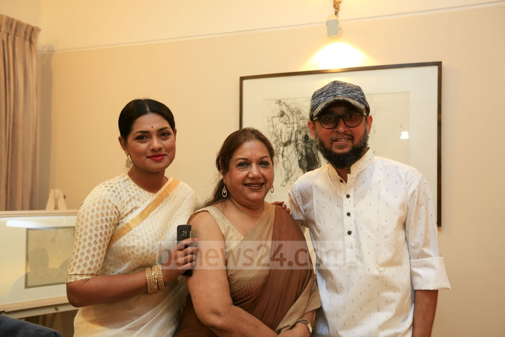 Tisha and Farooki with Kabori at bdnews24.com's Pahela Baishakh celebrations.