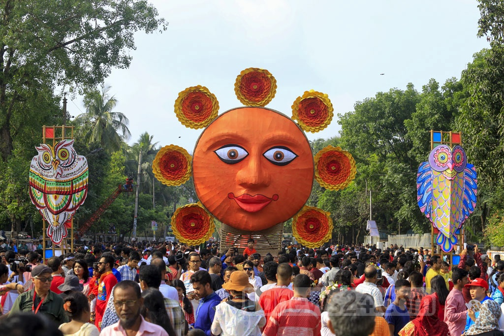 The Mangal Shobhajatra celebrating the Bangla New Year is taken out with a call for becoming a pure human being by overcoming the darkness of the soul in the sunlight.