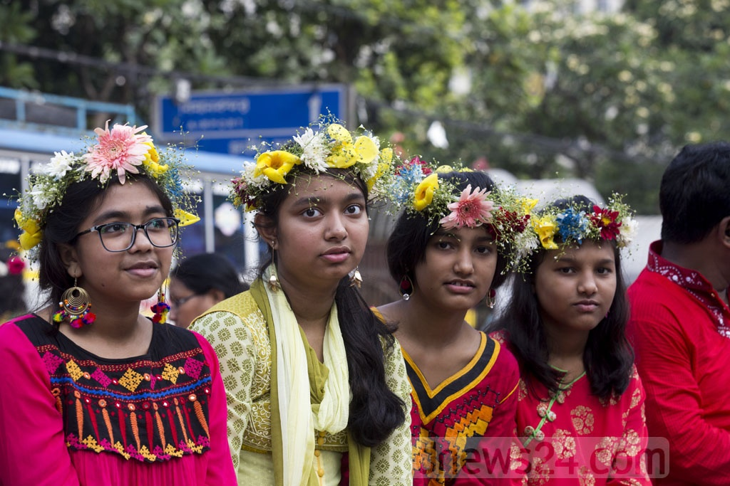 Children celebrate the Bangla New Year.