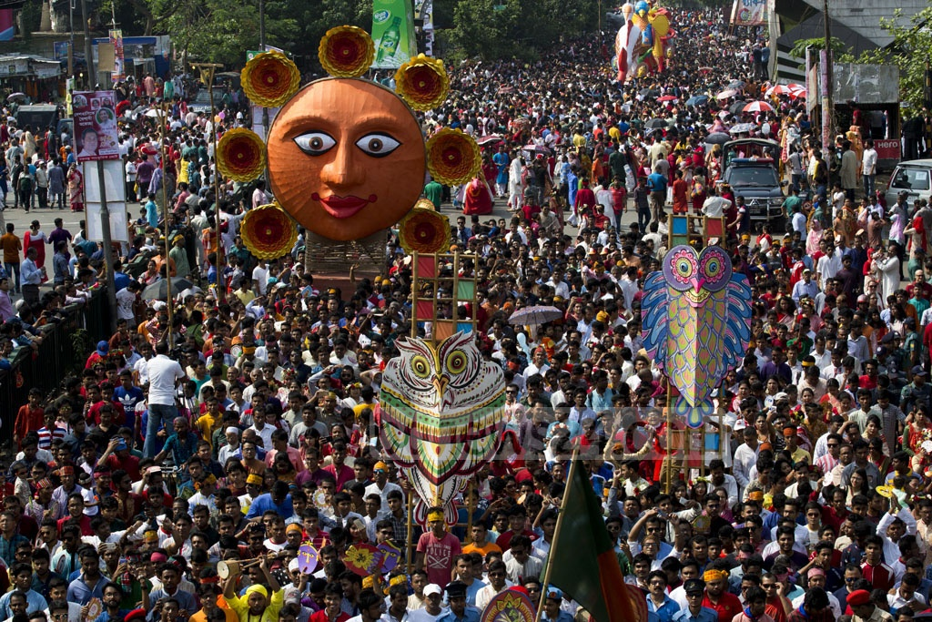 People of all classes, creeds and colours take part in the Mangal Shobhajtra on Pahela Baishakh