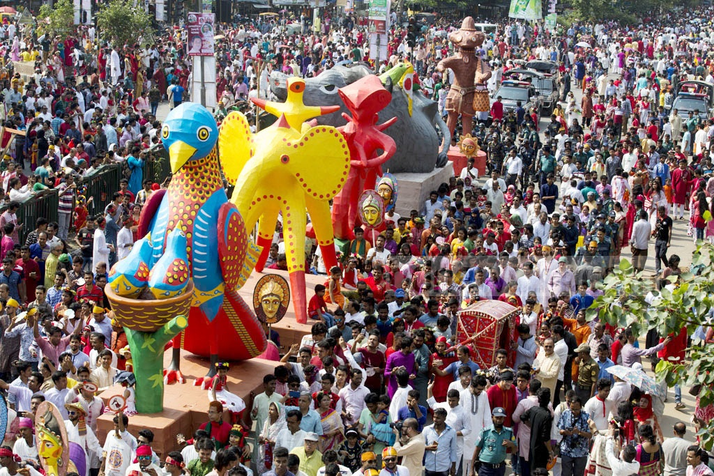 The Dhaka University Institute of Fine Arts welcomes Bangla New Year 1425 with the traditional Mangal Shobhajatra procession on Saturday.
