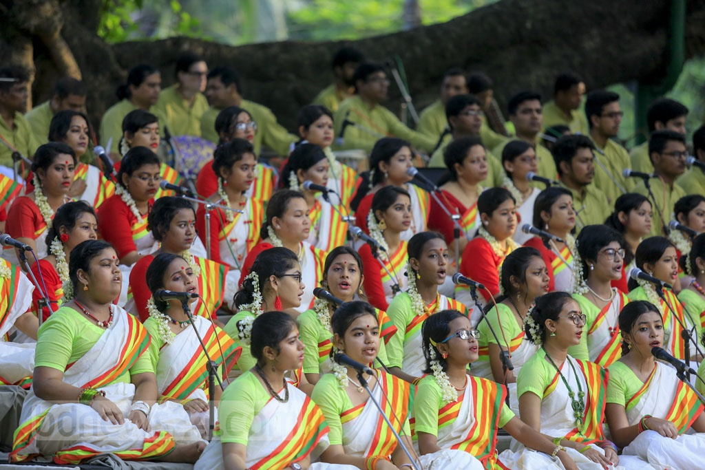Musicians from Chhayanaut perform at the annual Bangla New Year event at Dhaka's Ramna Batamul on Pahela Boishakh on Saturday. Photo: Mostafigur Rahman