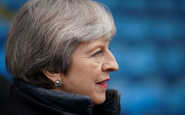 Britain's Prime Minister Theresa May tours Alexander Stadium in Birmingham, Apr 11, 2018. Reuters