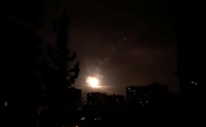 Syria air defences strike back after air strikes by US, British and French forces in Damascus, Syria in this still image obtained from video dated early Apr 14, 2018. Syria TV via Reuter