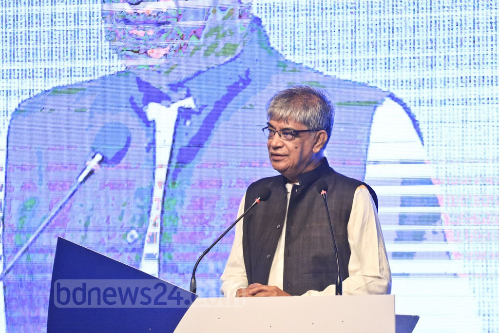 Minister of Posts, Telecommunications and Information Technology Mustafa Jabbar speaks at the inaugural ceremony of the two-day BPO Summit at Dhaka's Sonargaon Hotel on Sunday. Photo: Abdullah Al Momin