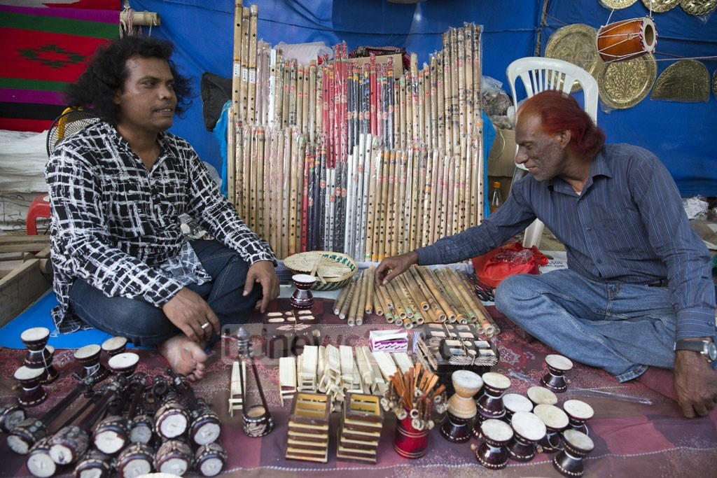 A handicraft stall at the 10-day Baishakhi Mela that began at Bangla Academy premises on the first day of Baishakh, the first month in Bangla calendar. The picture is taken on Monday. Photo: Mostafigur Rahman