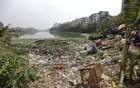 Gulshan Lake is cluttered with garbage. The photo was taken from Gudaraghat area, Gulshan-1. Photo: Mahmud Zaman Ovi