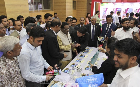 Civil Aviation and Tourism Minister AKM Shahjahan Kamal visits a three-day international tourism fair that opened at Bangabandhu International Conference Centre in Dhaka on Thursday. Photo: Asif Mahmud Ove