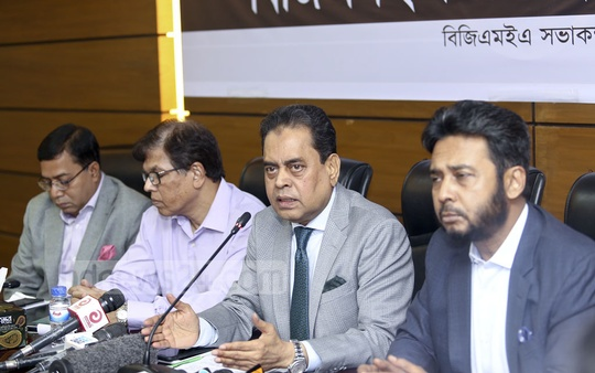 BGMEA President Siddiqur Rahman speaks at a press conference in Dhaka on Saturday to mark the fifth anniversary of the Rana Plaza disaster on Apr 24. More than 1,100 workers died in the building collapse. Photo: Mahmud Zaman Ovi
