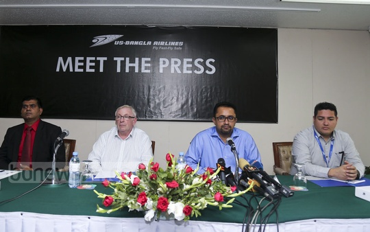 US-Bangla Airlines CEO Imran Asif holds a press conference in Dhaka on Sunday on the initial report by a Nepali probe on the plane crash at Kathmandu's Tribhuvan International Airport. Photo: Mahmud Zaman Ovi