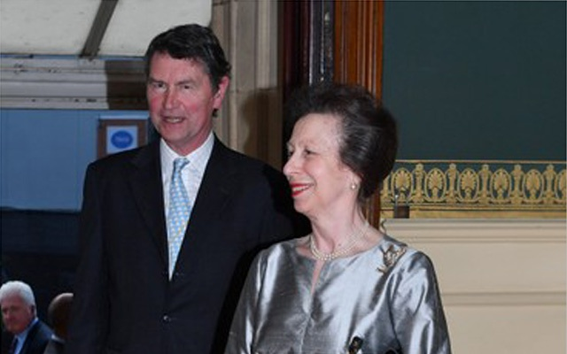 Britain's Princess Anne and her husband Vice Admiral Sir Timothy Laurence arrive for a special concert