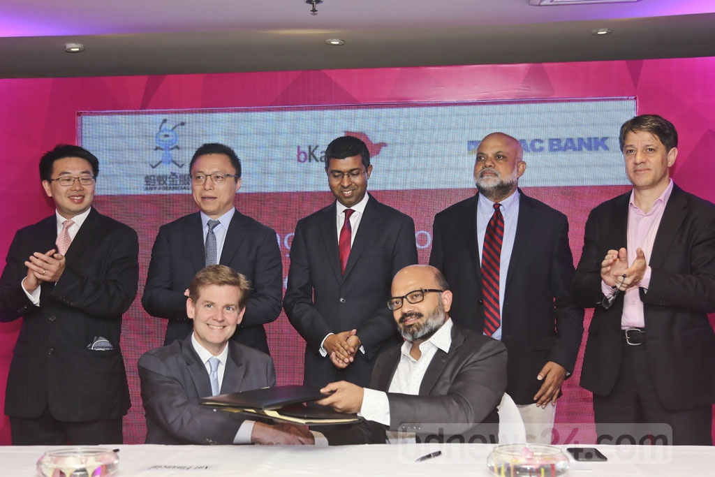 Ant Financial, the Alibaba affiliate that operates payment service Alipay and other digital finance products, signed a deal on strategic partnership with Bangladeshi mobile financial services provider bKash at a Dhaka hotel on Thursday.