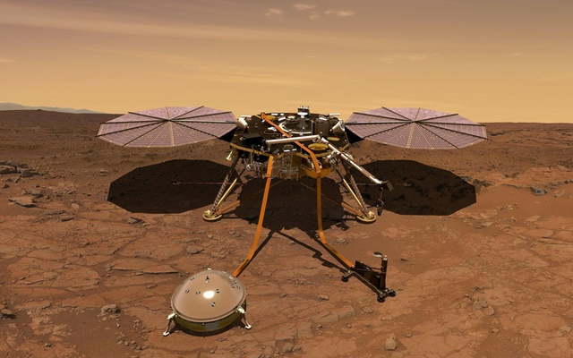 File Photo: The Mars InSight probe is shown in this artist's rendition operating on the surface of Mars, due to lift off from Vandenberg Air Force Base, California, US on May 5, 2018 in this image obtained on May 3, 2018. NASA Handout via Reuters