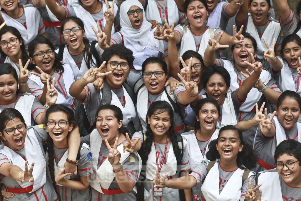 Holy Cross School students are overjoyed by their SSC results. Photo: Abdullah Al Momin