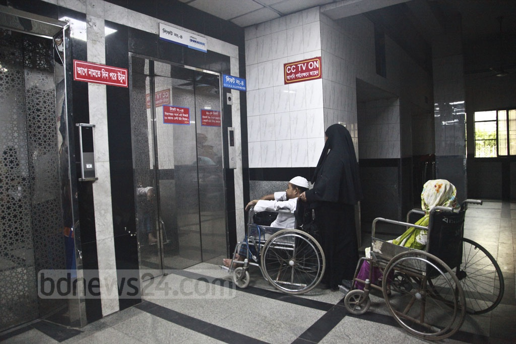 Sufferings deepen for patients as a prolonged power outage hits the BIRDEM Hospital in Dhaka on Monday.