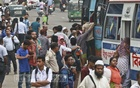 People jostle with each other rushing to get on the bus at Farmgateon Thursday afternoon. Photo: Abdullah Al Momin
