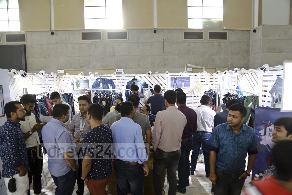 Visitors flock to the Denim Expo on its closing day at International Convention City Bashundhara in Dhaka on Thursday. Photo: Mahmud Zaman Ovi