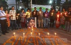 Friends and relatives of Ananta Bijoy Das organise a candlelight vigil and rally the National Museum in Dhaka's Shahbagh on Saturday remembering the writer-blogger who was slain in an attack by militants in Sylhet on this day three years ago. Photo: Abdullah Al Momin