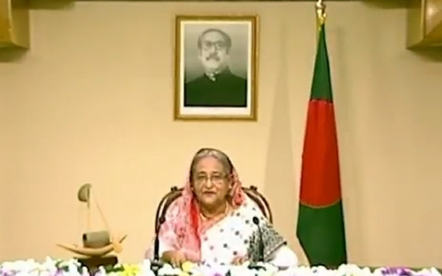 Sheikh Hasina delivering the message