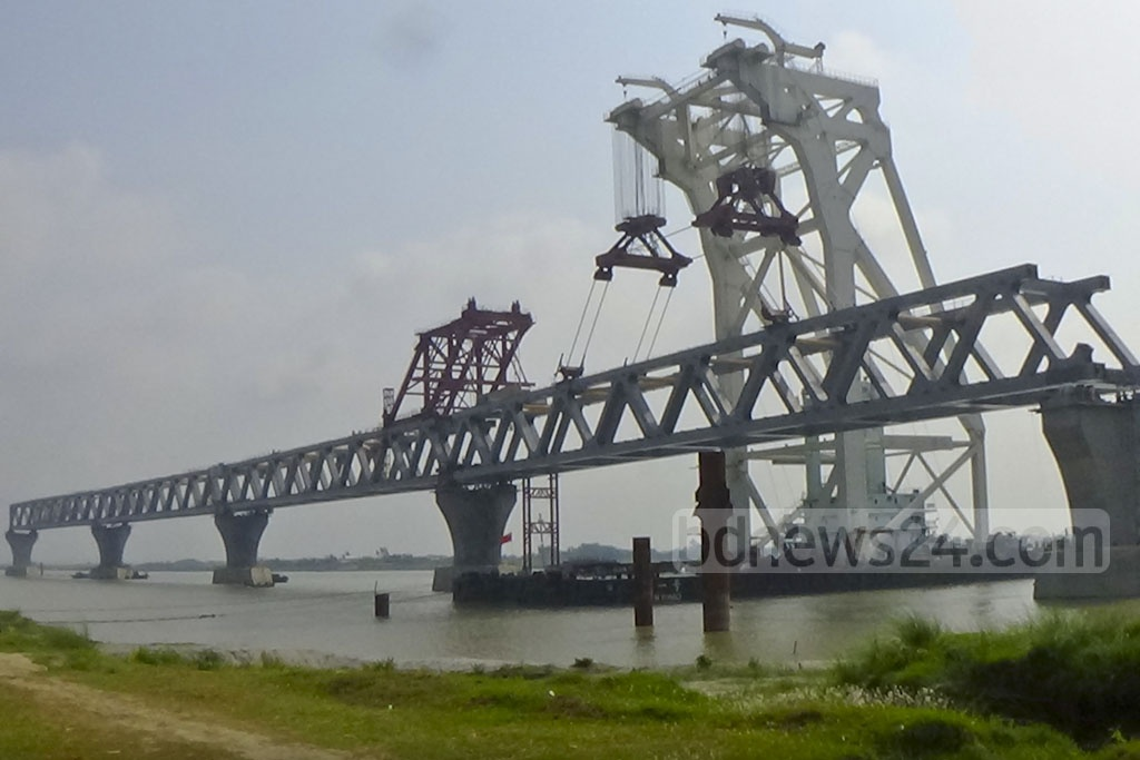 The fourth span of the Padma Bridge has been installed between pillars 40 and 41 on the Jazira end of the bridge, making 600 metres of the country's largest physical infrastructure project visible.