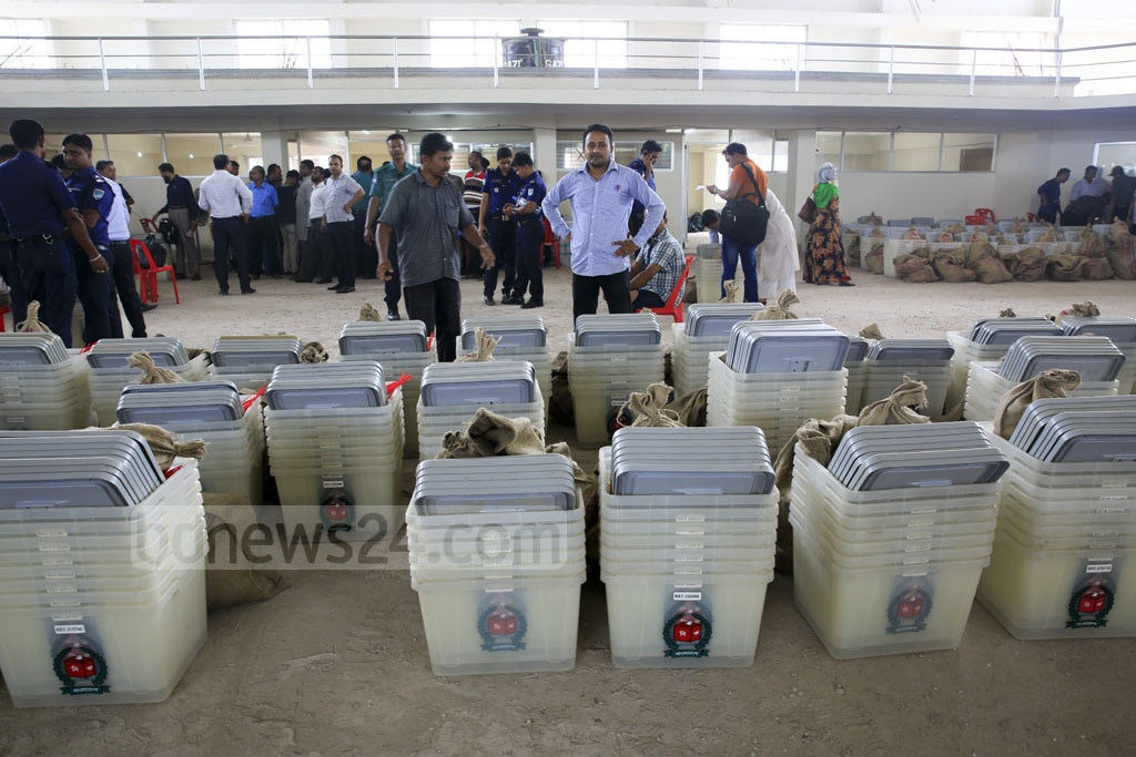 Ballot boxes, ballot papers and other materials are ready to be taken to the polling centres. Photo: Mostafigur Rahman
