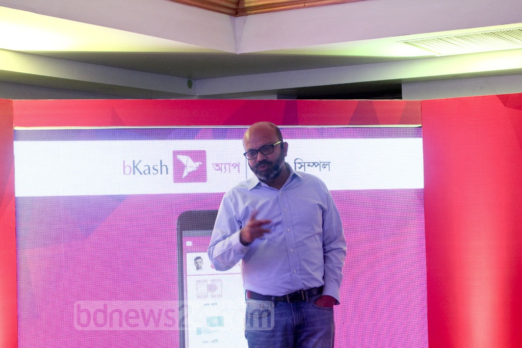 bKash CEO Kamal Quadir speaks at the launch of the mobile money transfer service provider's new app at a Dhaka hotel on Tuesday.
