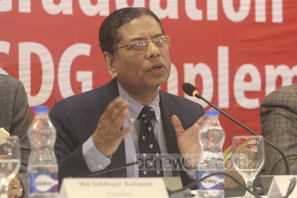 The Centre for Policy Dialogue Distinguished Fellow Mustafizur Rahman speaks at a dialogue on Sustainable Development Goals or SDGs at a Dhaka hotel on Tuesday.