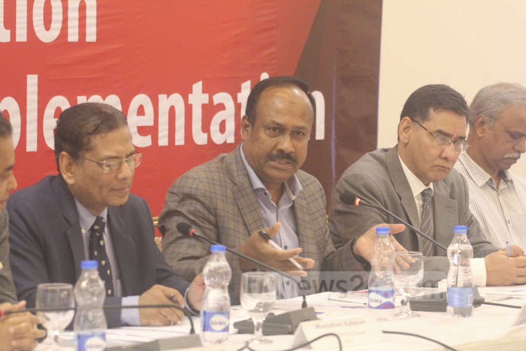 State Minister for Labour and Employment Md Mujibul Haque (Chunnu) speaks at a dialogue on Sustainable Development Goals or SDGs organised by the Centre for Policy Dialogue at a Dhaka hotel on Tuesday.