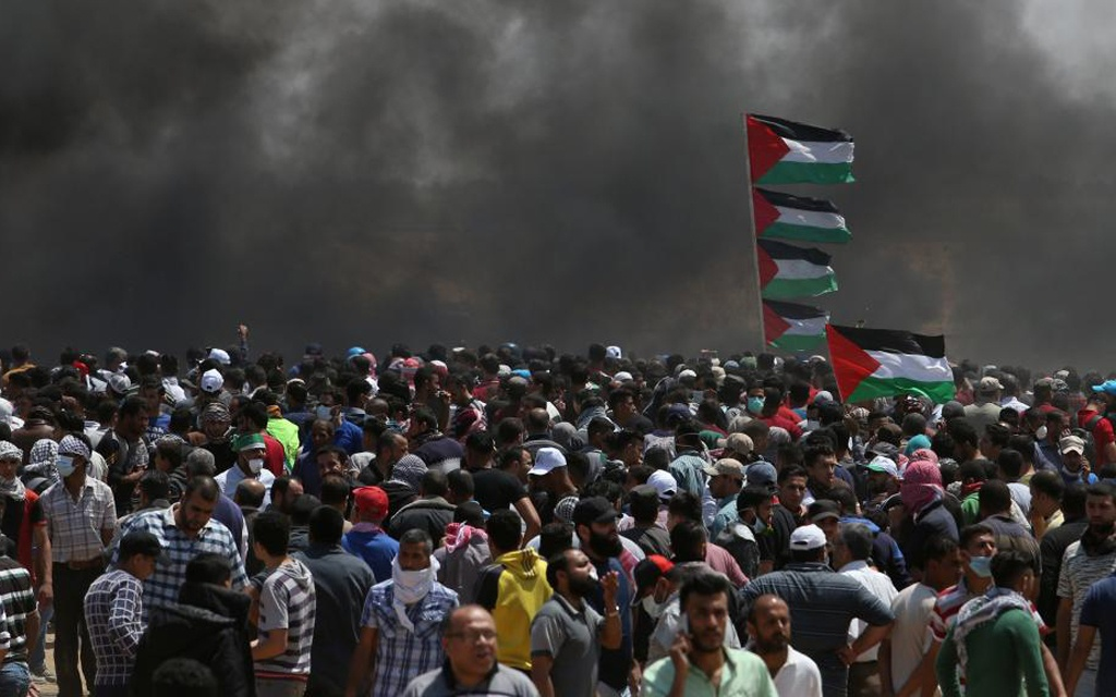 against US embassy move to Jerusalem and ahead of the 70th anniversary of Nakba, at the Israel-Gaza border in the southern Gaza Strip May 14, 2018.