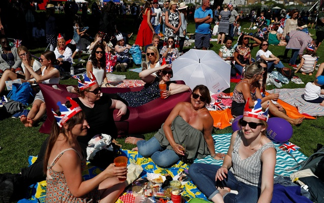People gather ahead of the wedding of Britain's Prince Harry to Meghan Markle in Windsor, Britain, May 19, 2018. Reuters