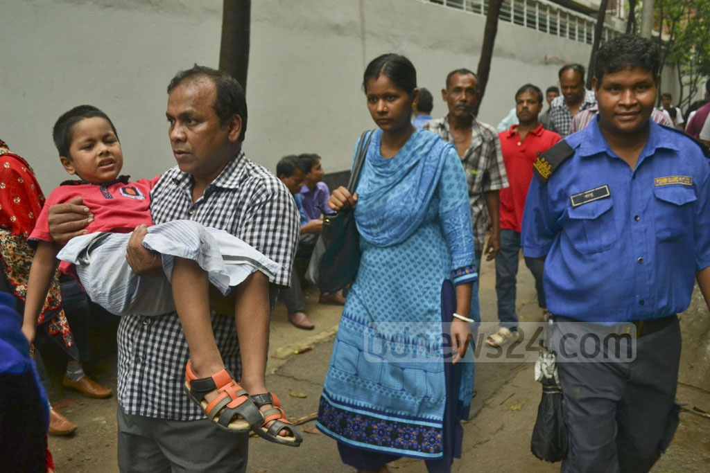 Patients are going back without medicare at Dhaka National Medical College Hospital due to a strike by the staff over several demands on Monday. Photo: Abdullah Al Momin
