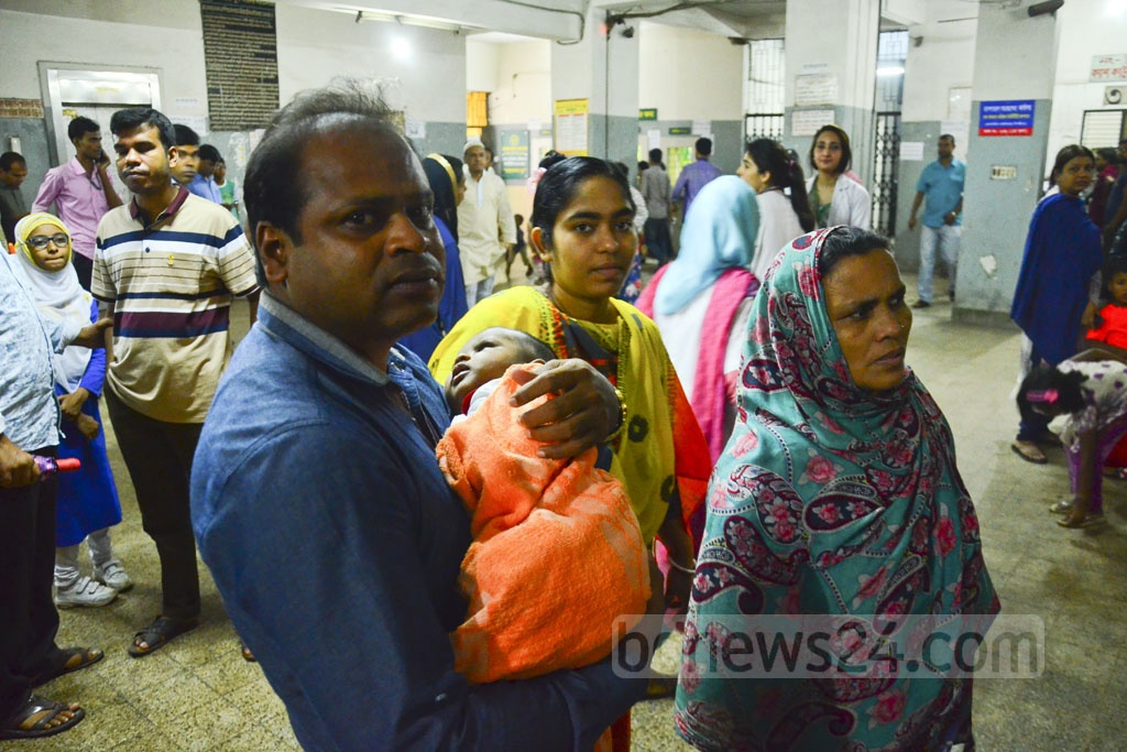 Patients face trouble due to a strike by employees of Dhaka National Medical College Hospital on Monday. Photo: Abdullah Al Momin