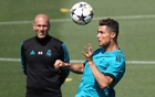 Real Madrid coach Zinedine Zidane and Cristiano Ronaldo during training. Real Madrid City, Madrid, Spain - May 22, 2018.